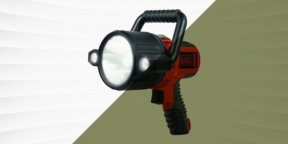 """<p>While a <a href=""""https://www.popularmechanics.com/technology/gadgets/g3035/best-flashlight/"""" rel=""""nofollow noopener"""" target=""""_blank"""" data-ylk=""""slk:good flashlight"""" class=""""link rapid-noclick-resp"""">good flashlight</a> definitely has its place in a home tool collection, if you need maximum power and wide illumination, you're probably going to want a spotlight. These powerful lights are designed to be comfortable to hold for long periods of time, with dedicated handles that make them easy to carry around. Their wide lens and bright lumen output also makes them great for having on hand for emergencies, and can usually illuminate a wider area than smaller flashlights. Some spotlights even include a stand that allows you to place them on the ground, angle them at your workspace so you can keep your hands free.</p><h3 class=""""body-h3"""">What to Consider</h3><p>The most important thing to consider when choosing a spotlight, is which power supply option is best for you. Those that take replaceable batteries might not be the most convenient, and you'll have to either purchase new batteries when they run out, or buy rechargeable ones. That said, since you're not relying on exterior power, they're also more practical if your home loses power or you're on a boat or camping. After all, your rechargeable light isn't much use if there isn't a power supply to plug it into. </p><p>If you're going to be using your spotlight around any liquid, you're going to want to go with a model that has an official IPX rating. This rating denotes how effective your spotlight will be at protecting its internal components against water or dust. <a href=""""https://www.hyper-gear.com/pages/ratings"""" rel=""""nofollow noopener"""" target=""""_blank"""" data-ylk=""""slk:Hypergear"""" class=""""link rapid-noclick-resp"""">Hypergear</a> has an effective explainer to help you understand precisely what the specific IPX ratings mean–the higher the rating, the better. If you're going to be using your spotlight on a boat, you'll definitel"""