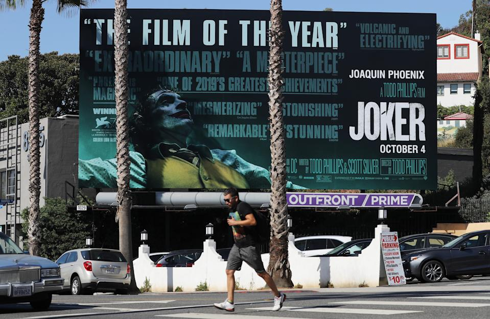 """A billboard advertises the new film """"Joker"""" on October 3, 2019 in West Hollywood, California.  (Photo by Mario Tama/Getty Images)"""