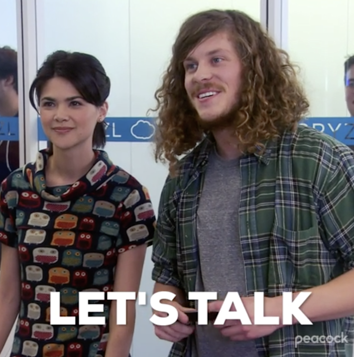 """Blake Anderson in """"Parks and Rec"""" saying, """"Let's talk"""""""
