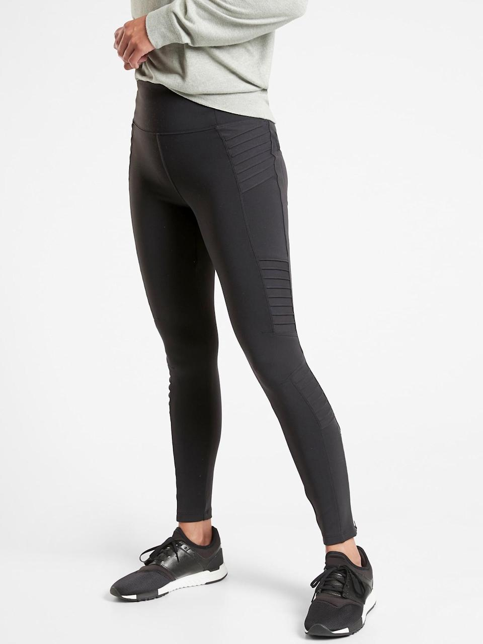 <p>Besides loving the look of the <span>Athleta Delancey Moto Tight</span> ($98), the fabric is light and stretchy. This makes them perfect for working, running errands, or just hanging out.</p>
