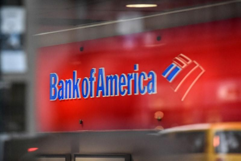 A Bank of America logo is seen in New York City
