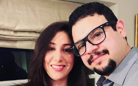 <span>Newlyweds Saeed Tahmasebi and Niloofar Ebrahim</span>