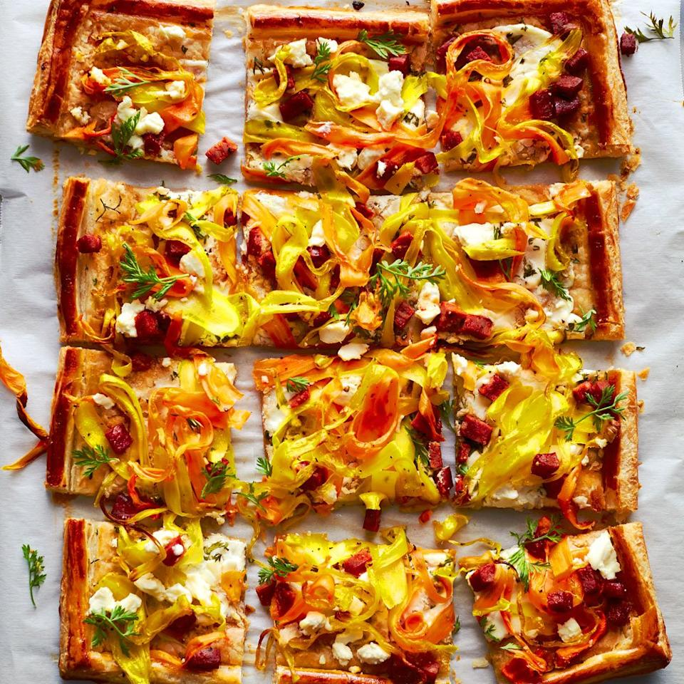 "<p>With its tangle of bright carrot strips and bits of spicy chorizo, this beautiful tart makes an exciting appetizer or even a light main dish. An all-butter puff pastry, such as Dufour, gives especially flavorful and flaky results, but it's delicious made with any kind of puff pastry.</p> <p><a href=""https://www.myrecipes.com/recipe/savory-carrot-ribbon-tart"">Savory Carrot Ribbon Tart Recipe</a></p>"