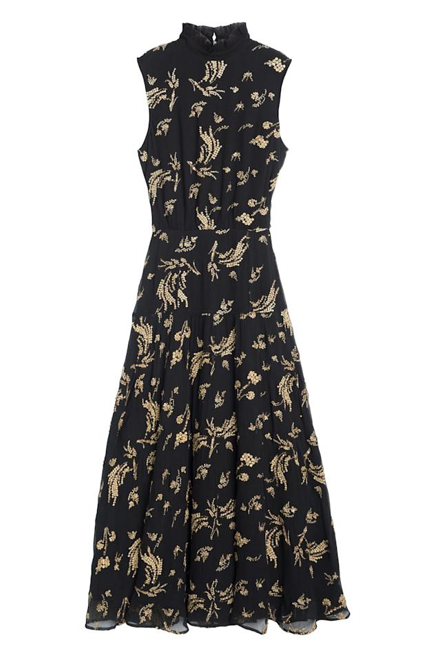 """<p>And loves patterns.</p><p><i>Embroidered ruffle-neck sleeveless maxi dress ($1,095) by Suno, <a rel=""""nofollow"""" href=""""https://www.shopspring.com/products/29386723"""">shopspring.com</a></i></p>"""