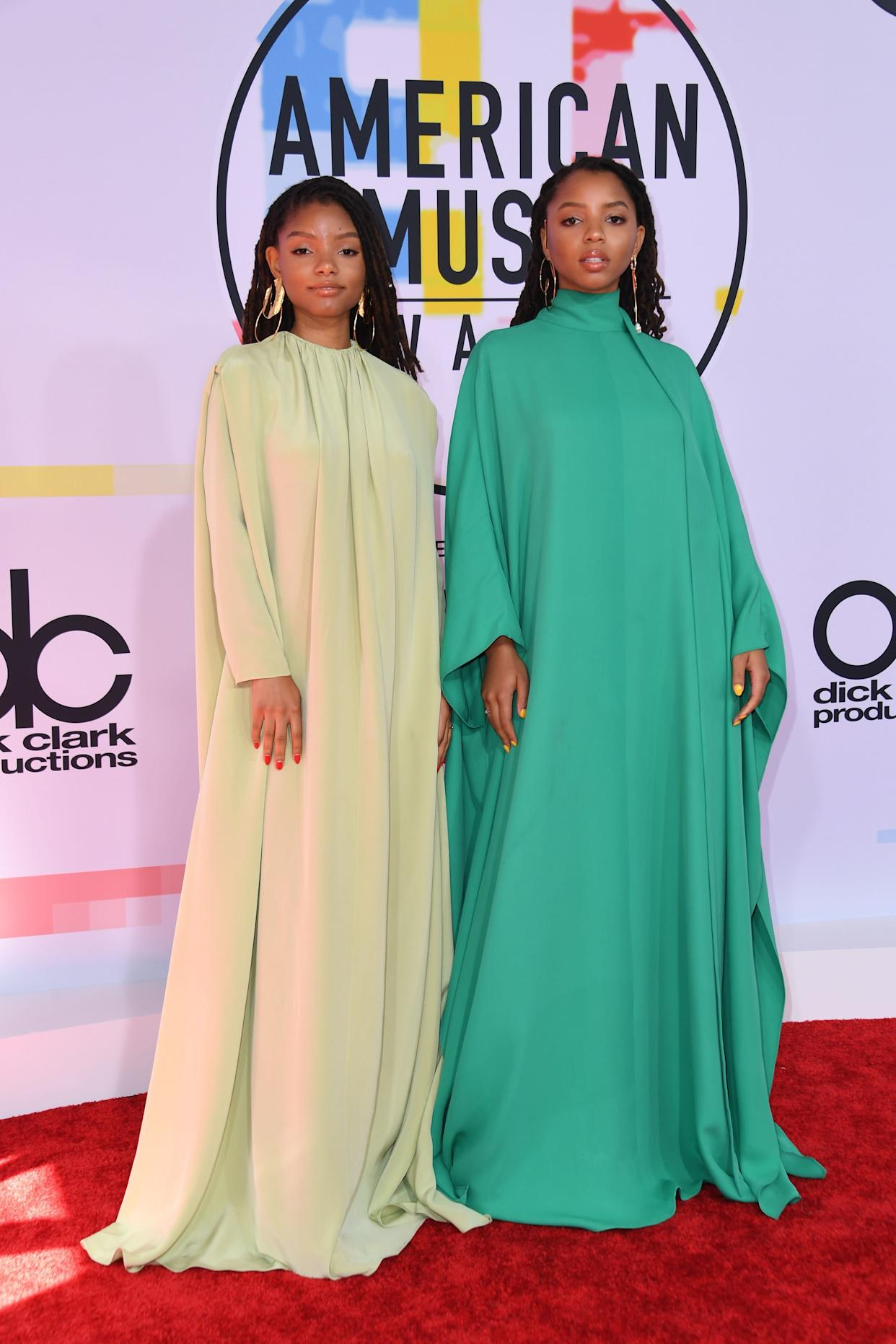 The R&B duo in Valentino gowns.
