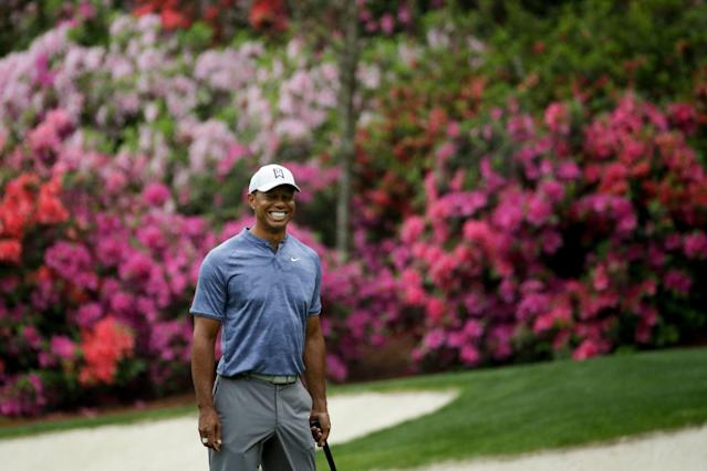Why is this man smiling? Because he might win the Masters. (AP)
