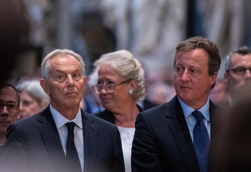 Former prime ministers Tony Blair and David Cameron during a Service of Thanksgiving for the life and work of Lord Ashdown at Westminster Abbey in London.