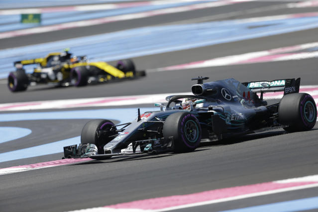 Mercedes driver Lewis Hamilton of Britain steers his car during the first free practice at the Paul Ricard racetrack, in Le Castellet, southern France, Friday, June 22, 2018. The Formula one race will be held on Sunday. (AP Photo/Claude Paris)