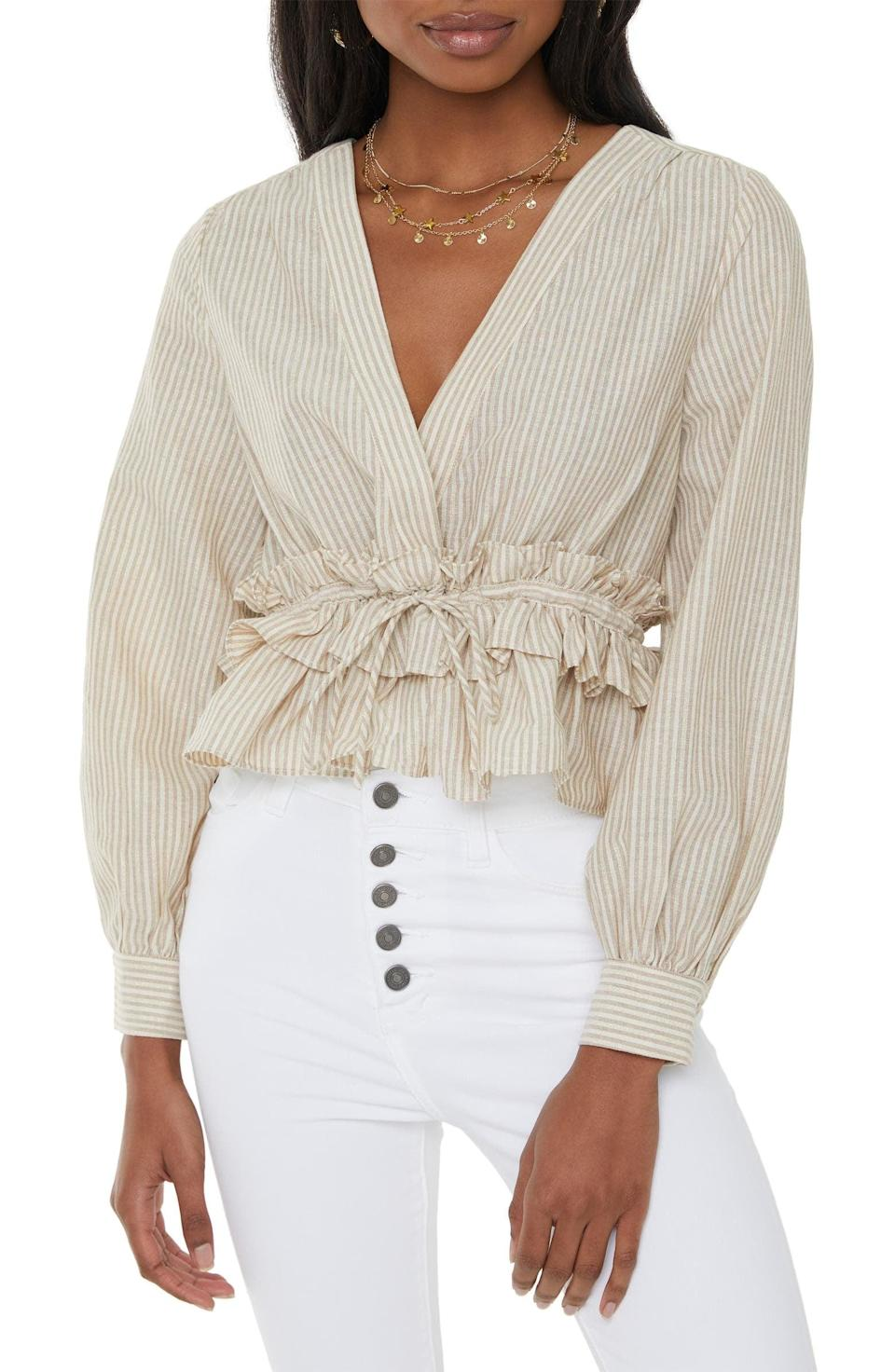 <p>Wear this <span>VICI x Nordstrom Stripe Ruffle Waist Top</span> ($58) for your next brunch date.</p>