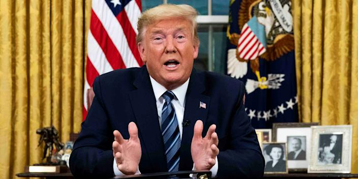 President Donald Trump addresses the nation about the government's coronavirus pandemic response from the Oval Office on March 11, 2020.