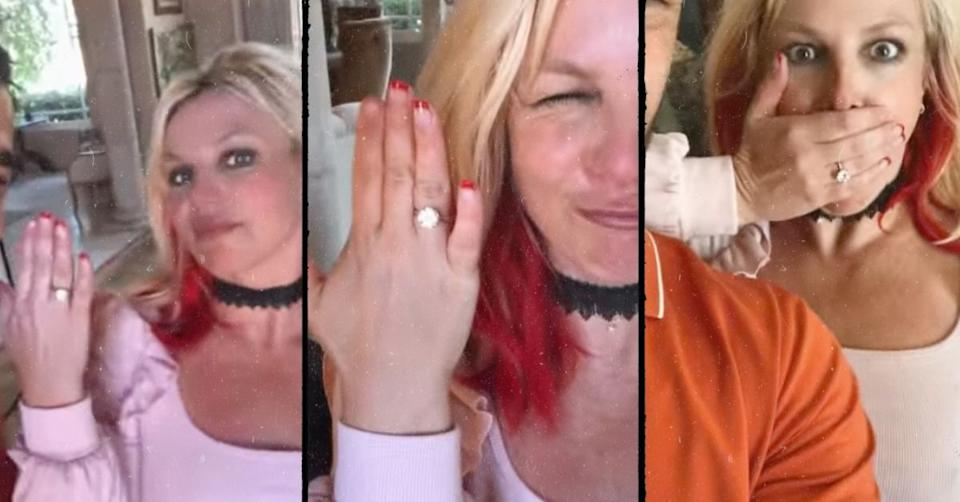 Britney Spears engaged shows off huge diamond ring on Instagram