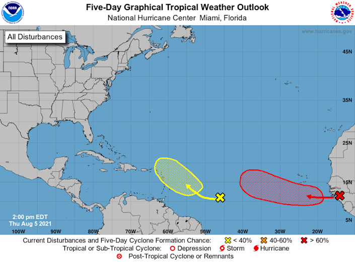 A tropical wave that is expected to roll off Africa's west coast later Thursday is likely to strengthen into a tropical depression late Saturday or early Sunday.