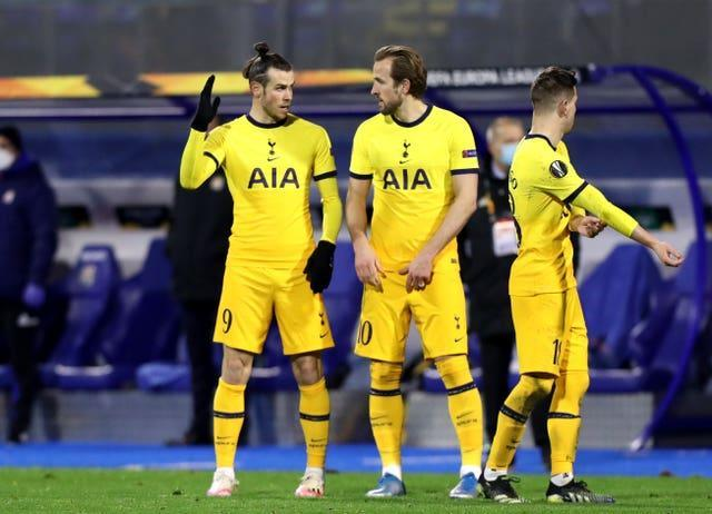 Tottenham's Gareth Bale and Harry Kane during the Europa League defeat against Dinamo Zagreb