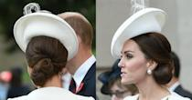 <p>Is it just us or does Middleton's low bun look curled like a little rose? The duchess wore a bun neatly wrapped into a hairnet to ensure no flyaway hairs during a day outside. </p>