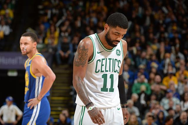 Kyrie Irving has been visibly and vocally unhappy in Boston. (Getty)
