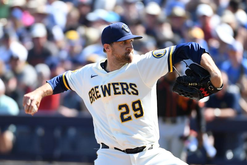 MARYVALE, ARIZONA - MARCH 06: Josh Lindblom #29 of the Milwaukee Brewers delivers a first inning pitch against the San Francisco Giants during a spring training game at American Family Fields of Phoenix on March 06, 2020 in Maryvale, Arizona. (Photo by Norm Hall/Getty Images)