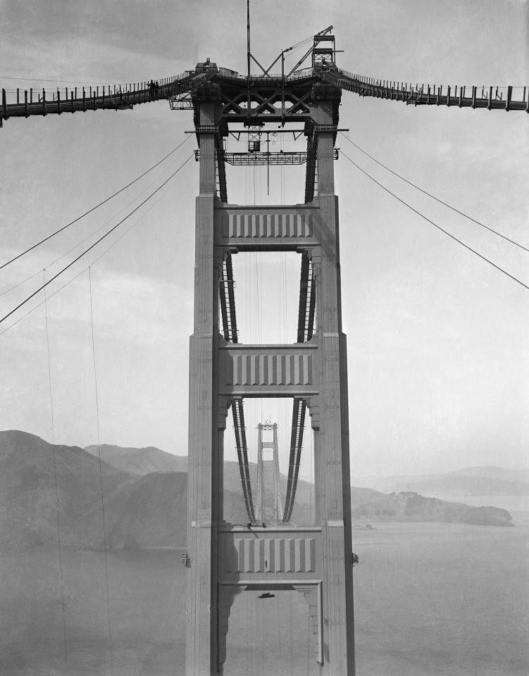Preparations for spinning the cables of the Golden Gate Bridge between Marin County and San Francisco on October 10, 1935. (AP Photo)