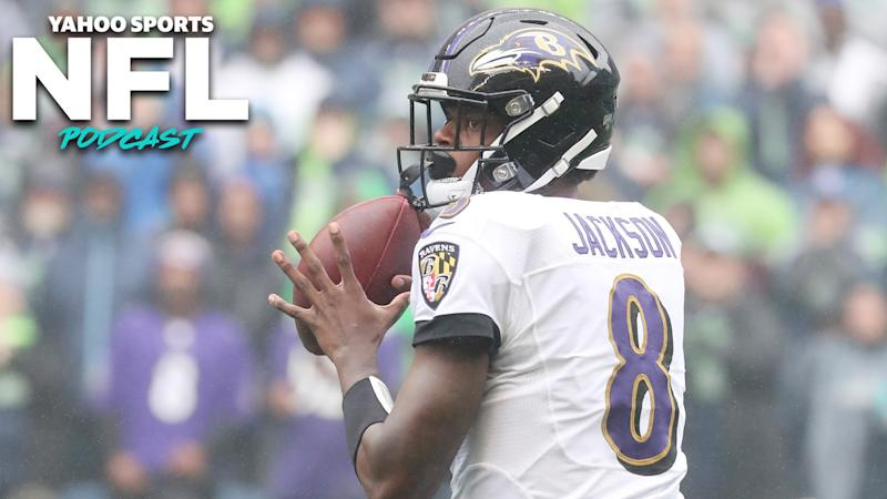 Lamar Jackson's impressive performance in Seattle has him in the conversation as one of the league's elite young QBs. (Photo by Abbie Parr/Getty Images)