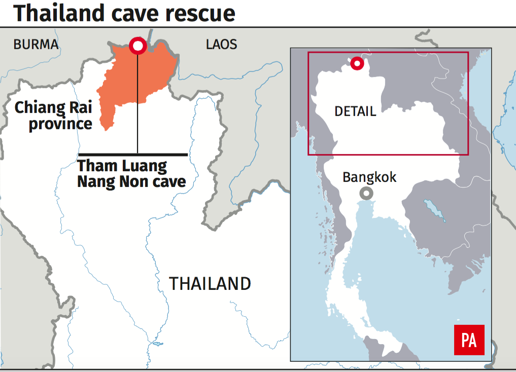 A map showing where the boys and their coach are trapped. (Photo: PA)