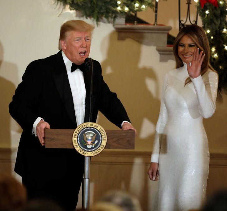 <p>Not one to shy away from the spotlight, Melania chose a sequinned Celine dress plucked from the label's SS18 line for a Christmas ball on December 15. <em>[Photo: Getty]</em> </p>