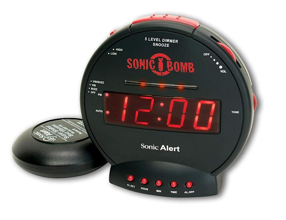 <p>If you have trouble waking up, this <span>Sonic Bomb Extra-Loud Dual Alarm Clock</span> ($33) is a game changer.</p>