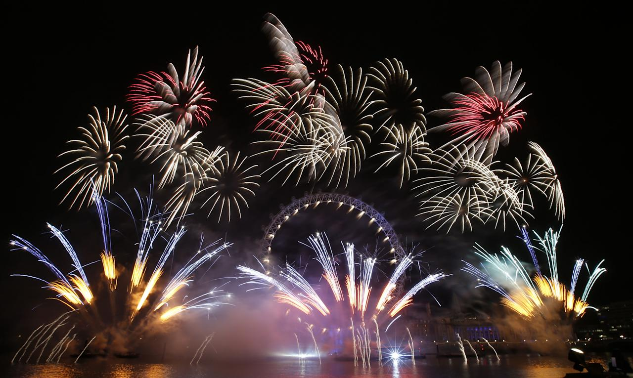 Fireworks mark the start of 2013 in London (Zuma/Rex Features)