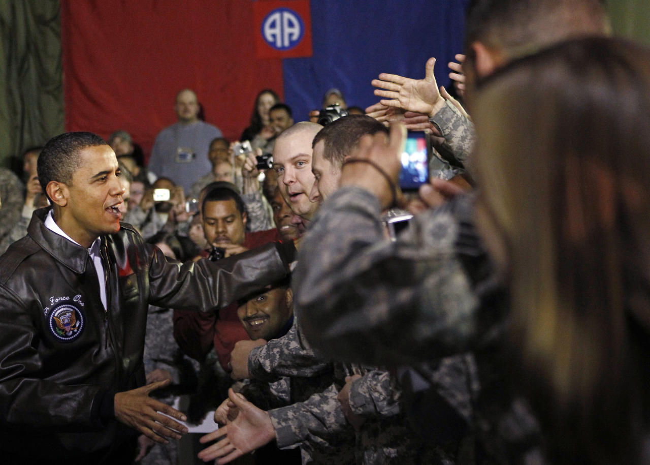 U.S. President Obama meets with troops at Bagram Air Force Base in Kabul
