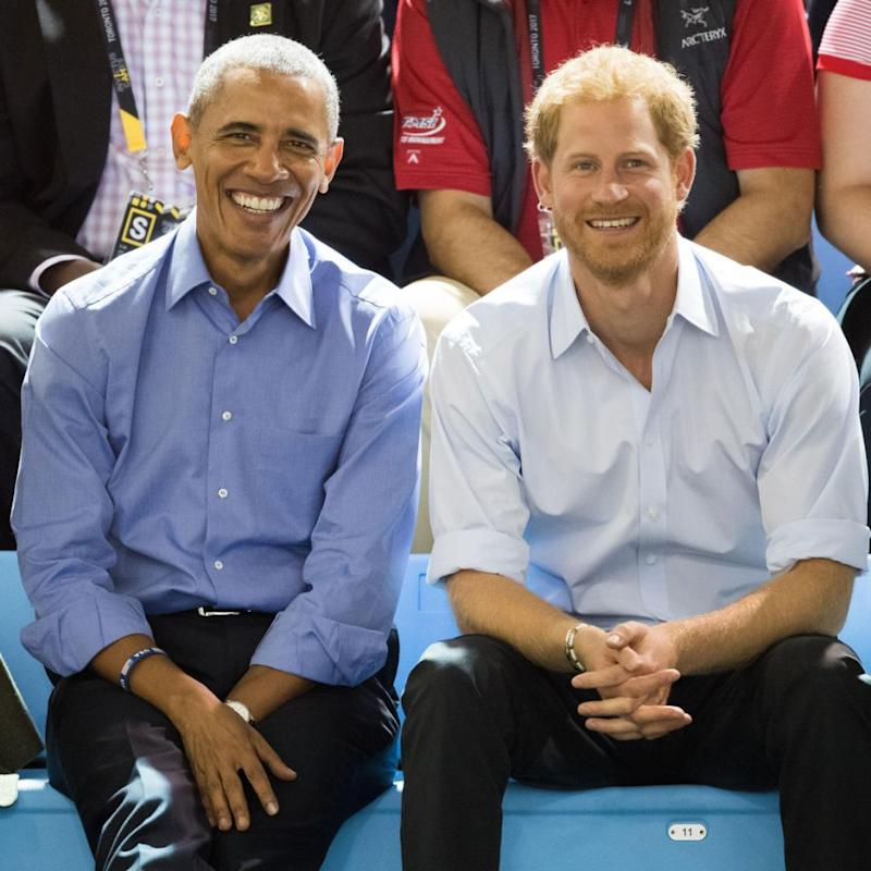 New photos of Prince Harry and former US President Barack Obama have sent social media into a meltdown. Source: Getty