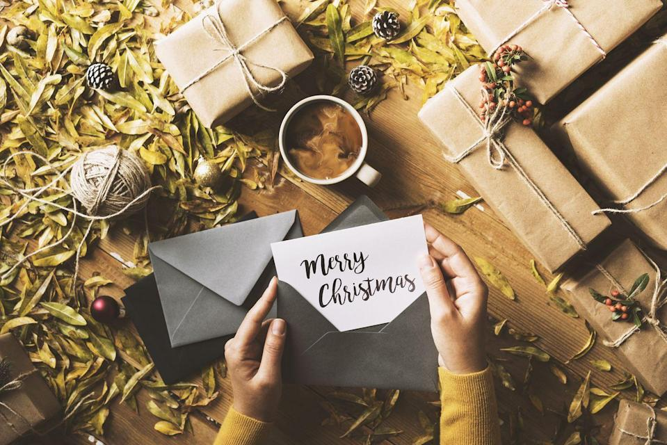 "<p>This year has been challenging for everyone, and a heartfelt, handwritten Christmas card is a sentimental way to show people you've been thinking of them. </p><p><a class=""link rapid-noclick-resp"" href=""https://go.redirectingat.com?id=74968X1596630&url=https%3A%2F%2Fwww.minted.com%2Fphoto-christmas-cards&sref=https%3A%2F%2Fwww.redbookmag.com%2Flife%2Fg34864266%2Fquarantine-christmas-ideas%2F"" rel=""nofollow noopener"" target=""_blank"" data-ylk=""slk:BROWSE CHRISTMAS CARDS"">BROWSE CHRISTMAS CARDS</a></p>"