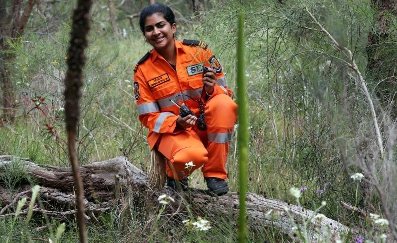 Melusha Robson, a 26-year-old law student, volunteers her time to the SES in its communications unit. Picture: Nic Ellis/The West Australian