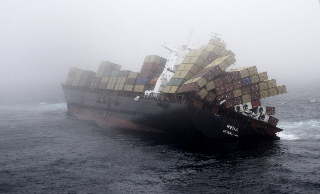 In this Wednesday, Nov. 2, 2011, photo provided by Maritime New Zealand, the cargo ship Rena lays stranded on a reef near Tauranga, New Zealand. The condition of the cargo ship stranded on the New Zealand reef for nearly a month has worsened, and authorities say they are preparing for it to break apart. The ship has been stranded since Oct. 5 on the reef. (AP Photo/Maritime New Zealand, Graeme Brown) EDITORIAL USE ONLY