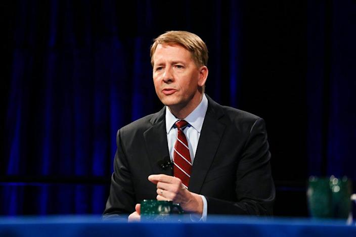 Democratic gubernatorial candidate Richard Cordray speaks at a debate at Cleveland State University, Monday, Oct. 8, 2018, in Cleveland.