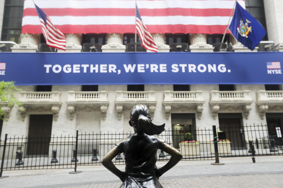 Photo taken on May 26, 2020 shows the Fearless Girl statue in front of the New York Stock Exchange in New York, the United States. (Photo by Wang Ying/Xinhua via Getty) (Xinhua/Wang Ying via Getty Images)