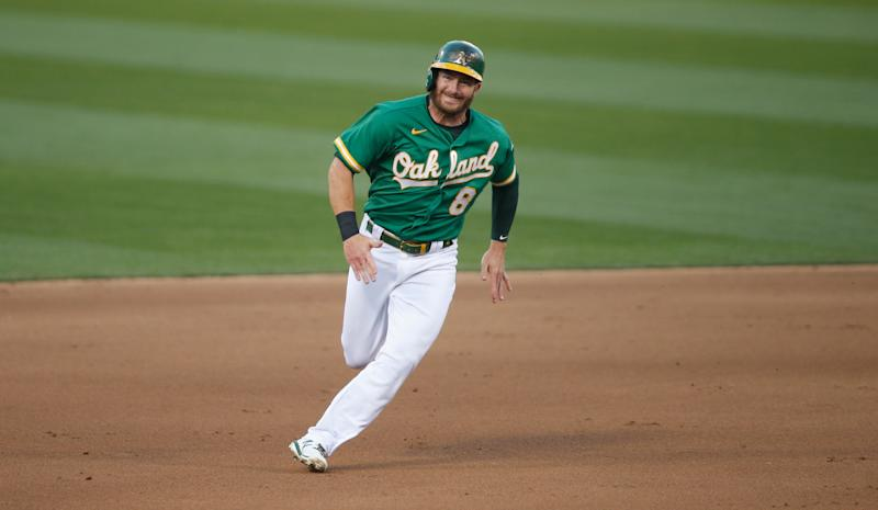 OAKLAND, CA - AUGUST 7: Robbie Grossman #8 of the Oakland Athletics runs the bases during the game against the Houston Astros at RingCentral Coliseum on August 7, 2020 in Oakland, California. The Athletics defeated the Astros 3-2. (Photo by Michael Zagaris/Oakland Athletics/Getty Images)