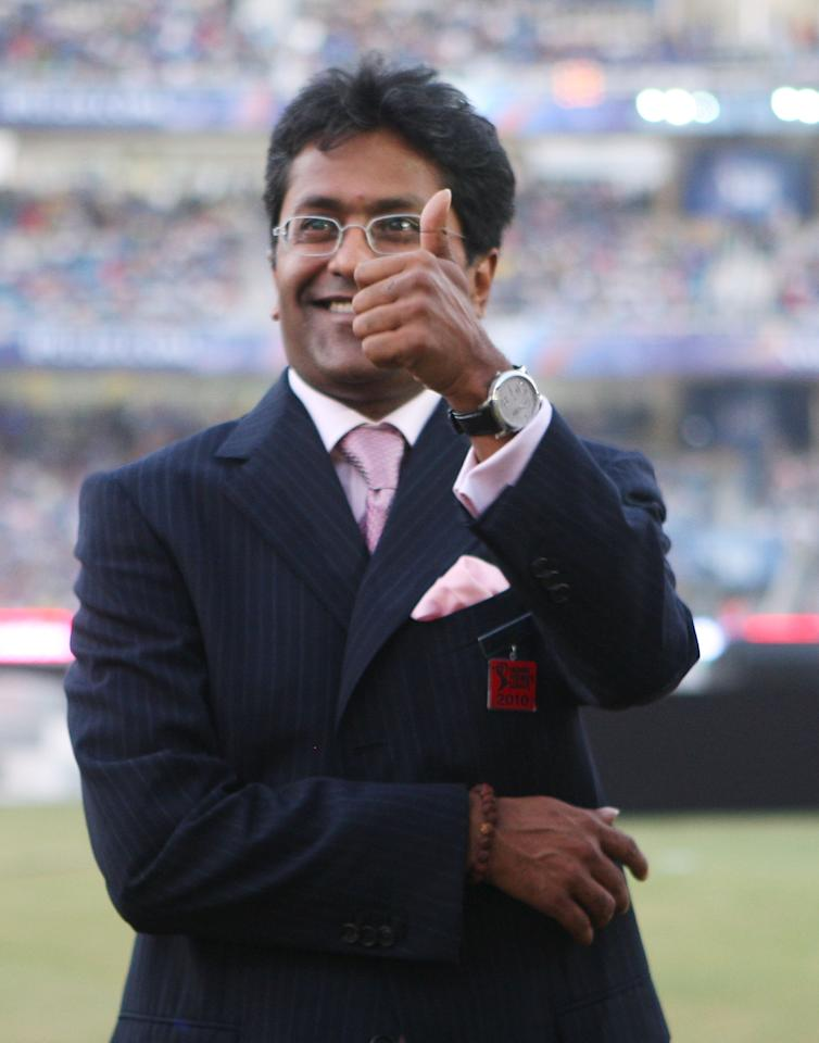 NAVI MUMBAI, INDIA - APRIL 25:  CEO of the IPL Lalit Modi looks on during the 2010 DLF Indian Premier League T20 Final between Mumbai Indians and Chennai Super Kings played at DY Patil Stadium on April 25, 2010 in Navi Mumbai, India.  (Photo by Chirag Wakaskar-IPL 2010/IPL via Getty Images)