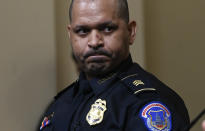 U.S. Capitol Police Sgt. Aquilino Gonell listens during a House select committee hearing on the Jan. 6 attack on Capitol Hill in Washington, Tuesday, July 27, 2021. (Andrew Caballero-Reynolds/Pool via AP)