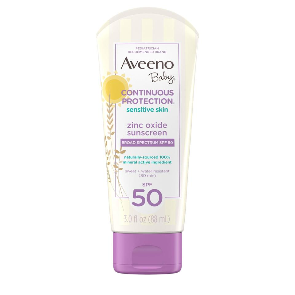 """<p><strong>Aveeno</strong></p><p>walmart.com</p><p><strong>$9.97</strong></p><p><a href=""""https://go.redirectingat.com?id=74968X1596630&url=https%3A%2F%2Fwww.walmart.com%2Fip%2F136543698&sref=https%3A%2F%2Fwww.oprahdaily.com%2Fbeauty%2Fskin-makeup%2Fg27367862%2Fbest-sunscreen-for-kids%2F"""" rel=""""nofollow noopener"""" target=""""_blank"""" data-ylk=""""slk:Shop Now"""" class=""""link rapid-noclick-resp"""">Shop Now</a></p><p>Another top pick of the <a href=""""https://www.ewg.org/sunscreen/best-kids-sunscreens/"""" rel=""""nofollow noopener"""" target=""""_blank"""" data-ylk=""""slk:Environmental Working Group's list of best sunscreens for kids"""" class=""""link rapid-noclick-resp"""">Environmental Working Group's list of best sunscreens for kids</a>, this formula contains only the mineral block or zinc oxide, so it's extra gentle on the skin, says <a href=""""http://www.zeichnerdermatology.com/"""" rel=""""nofollow noopener"""" target=""""_blank"""" data-ylk=""""slk:Dr. Joshua Zeichner"""" class=""""link rapid-noclick-resp"""">Dr. Joshua Zeichner</a>, a board-certified dermatologist in New York City. It's also enriched with oat extract to coat, sooth, and hydrate sensitive or inflamed skin, making it the perfect choice for kids and babies with eczema. </p>"""
