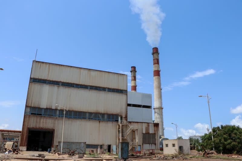 View of the state-owned al-Haswa power station in Aden