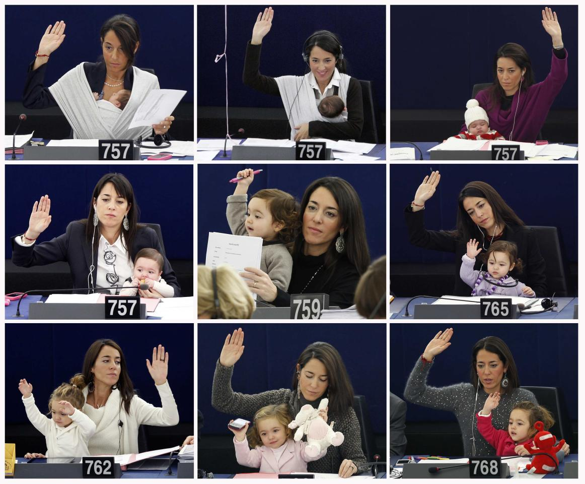 A combination picture shows Vittoria, daughter of Italy's Member of the European Parliament Licia Ronzulli, growing up as she attended with her mother in various voting sessions at the European Parliament in Strasbourg. Pictures taken from September 22, 2010 (Top row L) to November 19, 2013 (Bottom row R). REUTERS/Vincent Kessler and Jean-Marc Loos/Files (FRANCE - Tags: POLITICS TPX IMAGES OF THE DAY)