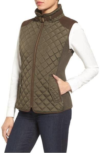 "33% off from $118. Get it <a href=""https://shop.nordstrom.com/s/gallery-quilted-vest-with-faux-suede-trim-regular-petite/4358842?origin=category-personalizedsort&fashioncolor=FATIGUE"" target=""_blank"">here</a>."