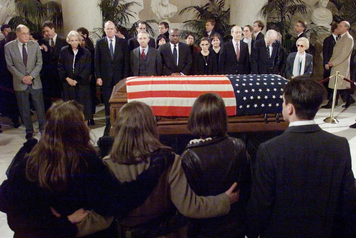Former Justice Harry Blackmun lies in repose at the Supreme Court on March 8, 1999.