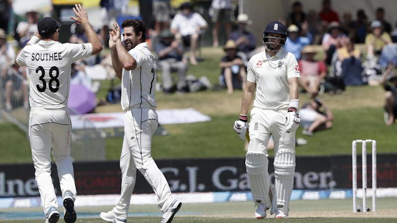 New Zealand claimed the key wicket of Joe Root as England fight to draw the first Test