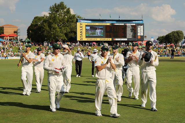 CENTURION, SOUTH AFRICA - FEBRUARY 15: Australian players celebrate after winning the game during day four of the First Test match between South Africa and Australia on February 15, 2014 in Centurion, South Africa. (Photo by Morne de Klerk/Getty Images)