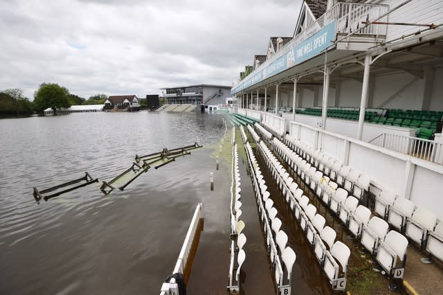 Flooding hit Worcestershire County Cricket Club's New Road ground earlier this year (Jacob King/PA)