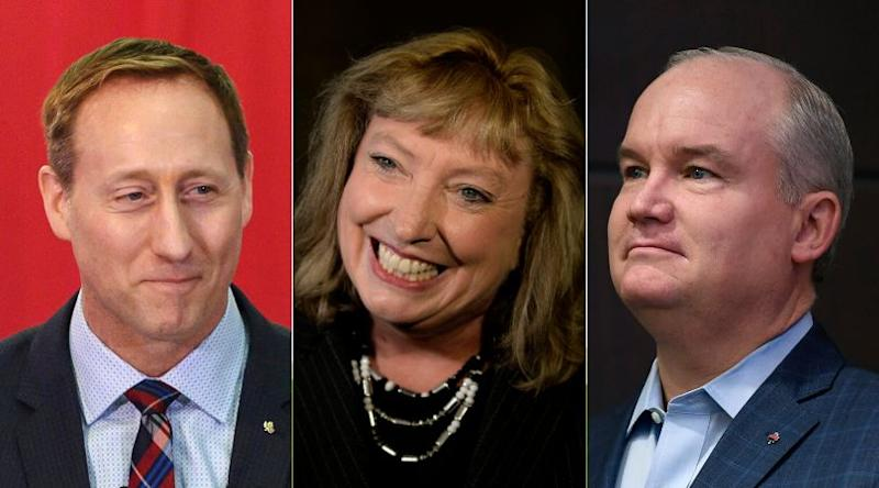 From left to right: Conservative leadership hopefuls Peter MacKays, Marilyn Gladu, Erin O'Toole have said they will march in Pride parades. (Photo: CP)