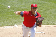 Minnesota Twins pitcher Jose Berrios throws Pittsburgh Pirates in the first inning of a baseball game Tuesday, Aug. 4, 2020, in Minneapolis. (AP Photo/Jim Mone)