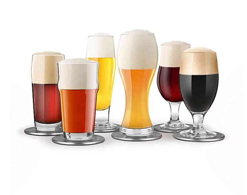 """The set includes six different glasses to maximize the tasting of wheat beers, porters, pilsners and more, along with cork-backed coasters and pairing suggestions. Get it <a href=""""https://www.bedbathandbeyond.ca/store/product/final-touch-beer-tasting-set-13-piece-set/1042588191"""" target=""""_blank"""" rel=""""noopener noreferrer"""">at Bed Bath &amp; Beyond Canada</a> for $25.99."""