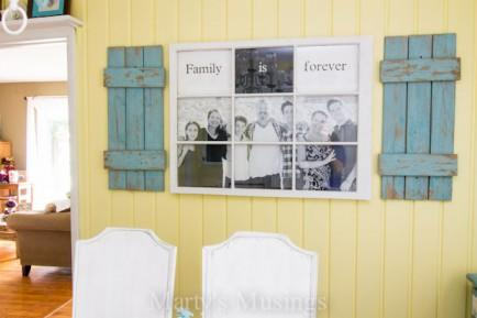 "<div class=""caption-credit""> Photo by: Marty's Musing</div><div class=""caption-title"">Old Window Photo Frame</div>I love how this old frame was up-cycled into this colorful and beautiful wall decor. It has a rustic look to it with the old blue shutters around it, and gives all the photos a nice homey feel. <br> <i>Learn more at <a rel=""nofollow"" href=""http://www.martysmusings.net/2013/05/old-window-photo-frame.html"" target=""_blank"">Marty's Musing</a></i>"