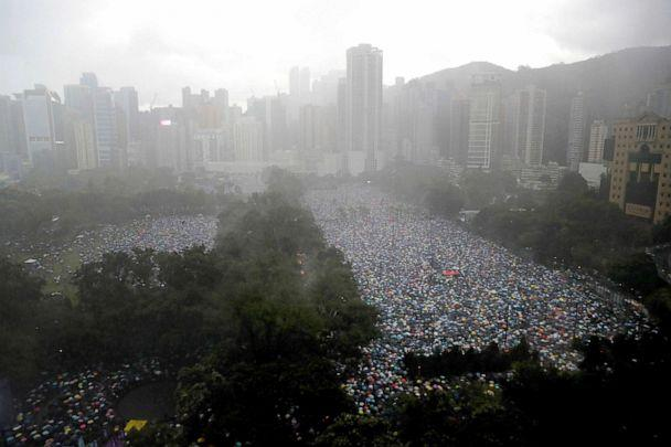 PHOTO: Demonstrators gather at Victoria Park in Hong Kong, Aug. 18, 2019. (Kin Cheung/AP)