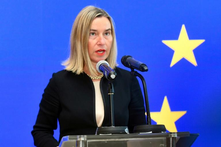 The European Union's diplomatic chief Federica Mogherini opened the bloc's new mission in Kuwait City on Sunday